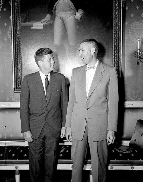 Mo Udall with John F. Kennedy at the White House, May 18, 1961. JFK-MKUdall 1961.jpg