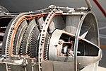 JMSDF US-1A T64-IHI-10E turboprop engine(cutaway model) gas generator turbine & power turbine section left rear view at MCAS Iwakuni May 5, 2019.jpg