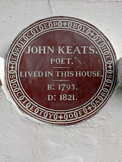 Photo of John Keats brown plaque