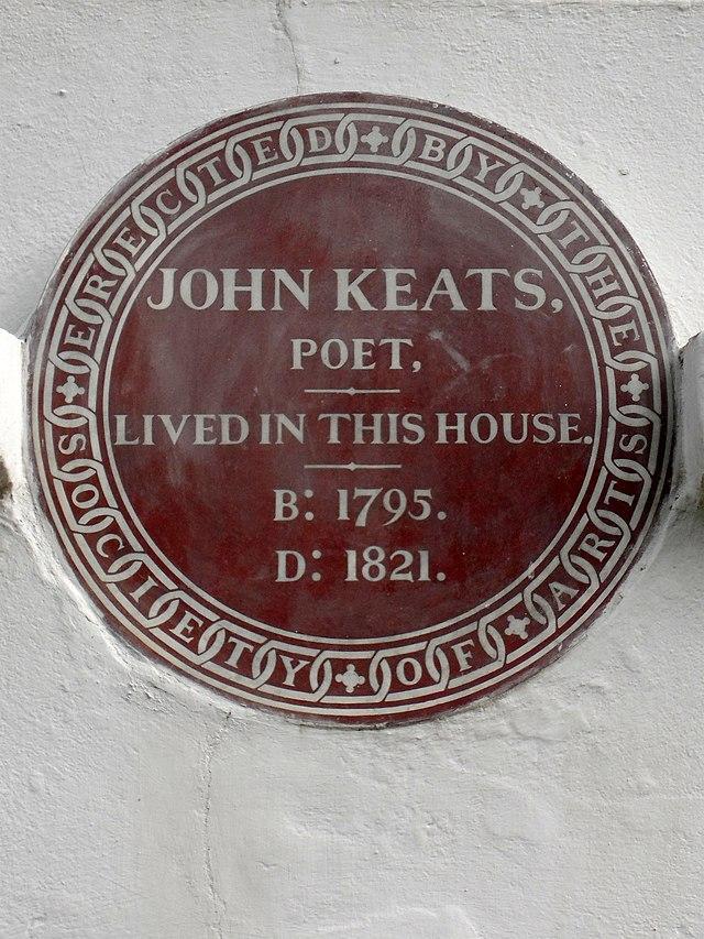 John Keats brown plaque - John Keats poet lived in this house B:1795, D:1821.