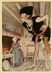 """""""Fee-fi-fo-fum, I smell the blood of an Englishman.""""Illustration by Arthur Rackham from a 1918 English Fairy Tales, by Flora Annie Steel"""