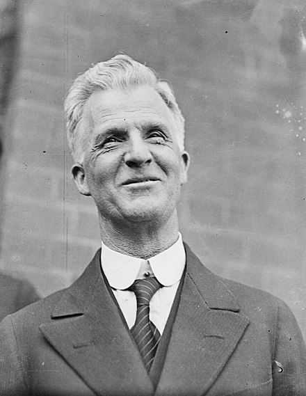 Scullin on the day he handed the reins of power to Joseph Lyons, January 1932. James Scullin on relinquishing office.jpg