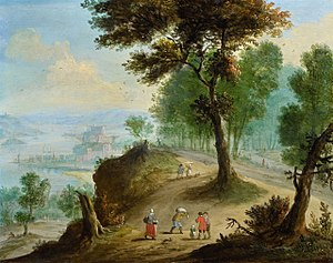 Jan Frans van Bredael - Wooded landscape with figures and a river