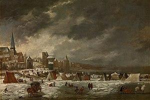 Jan Peeters I - The frozen Scheldt in Antwerp