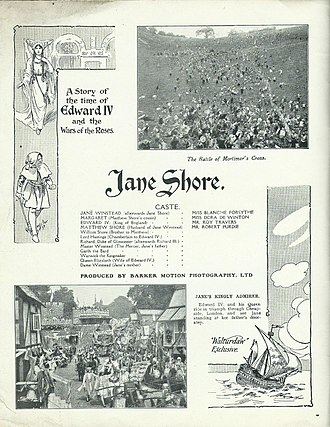 Jane Shore (1915 film) - Publicity details for Jane Shore