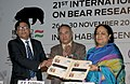 Jayanthi Natarajan releasing a postage stamp, at the 21st International Conference on Bear Research and Management, in New Delhi on November 26, 2012.jpg