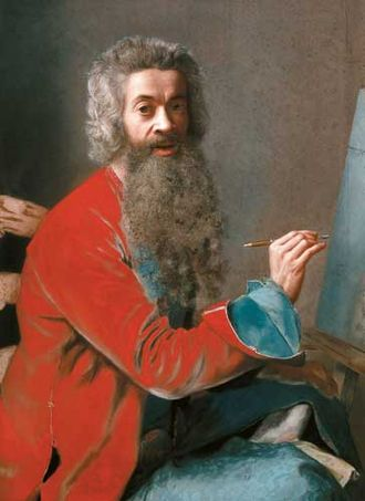 Jean-Étienne Liotard - Jean-Étienne Liotard, self-portrait, c. 1749 in his favourite medium of pastel.  The full beard he wore after returning from Turkey was a considerable eccentricity in Rococo Europe.