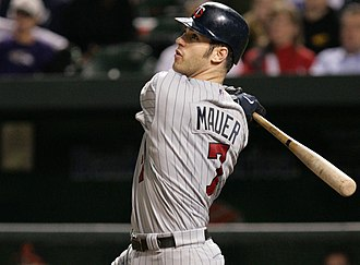 Joe Mauer - Mauer swings the bat during a game in September 2006