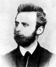 Black-and-white photograph of Johann Most in 1879