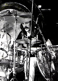 Bonham performing with Led Zeppelin in 1973