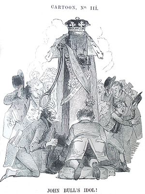 "Kenny Meadows - ""John Bull's Idol"" by Kenny Meadows. Published in 1843 in Punch"