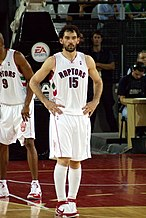 3c55184520c Jorge Garbajosa (left) and Chris Bosh (right) during the 2007–08 season.  Injuries to both players during the season derailed the possibility for the  Raptors ...