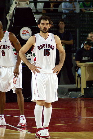 Jorge Garbajosa - Garbajosa with the Toronto Raptors during a preseason game in Italy.