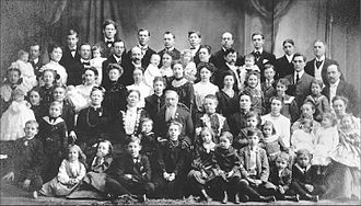 Joseph F. Smith - This turn of the century family portrait was taken close to the time Joseph F. Smith succeedeed Lorenzo Snow as president of the LDS Church in October 1901. Besides Levira, with whom he had no children, Smith had five other wives and forty-eight children. His wives are (L to R seated by Smith): Mary Taylor Schwartz (married, 1884, seven children); Edna Lambson (married 1871, ten children); Julina Lambson (married 1866, thirteen children, including Joseph Fielding Smith—top row, center); Sarah Ellen Richards (married 1868, eleven children); Alice Ann Kimball (married 1883, seven children); circa 1904