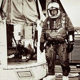 Joseph Kittinger - Kittinger next to the Excelsior gondola