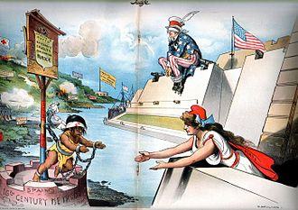 "Spanish–American War - An American cartoon published in Judge, Feb. 6, 1897: Columbia (representing the American people) reaches out to the oppressed Cuba (the caption under the chained child reads ""Spain's 16th Century methods"") while Uncle Sam (representing the US government) sits blindfolded, refusing to see the atrocities or use his guns to intervene (cartoon by Grant E. Hamilton)."