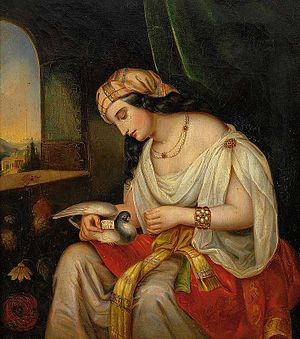 Pigeon post - Young lady in oriental clothing with a homing pigeon (19th century painting)