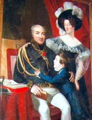 House of La Fayette - Juste-Charles César de Faÿ de La Tour-Maubourg with his wife, Anastasie de Lafayette, and child