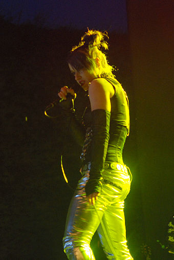 Lucia Cifarelli performing in Bolków, Poland in July 2009 KMFDM Castle Party 2009 02.jpg