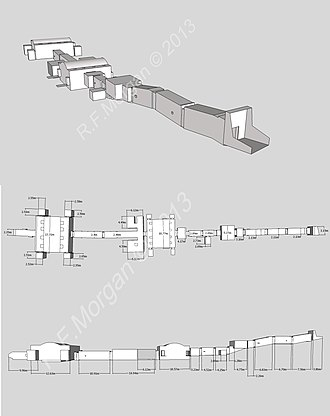 KV14 - Isometric, plan and elevation images of KV14 taken from a 3d model