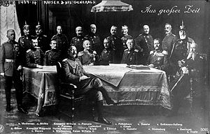 A composite image of William II with German generals. (Note the conflicting lighting of the men's faces, and the different directions of their gazes.)