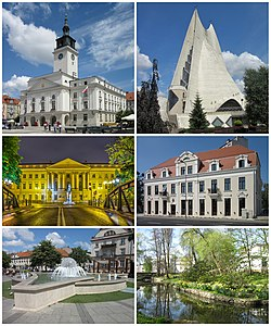 "Top: Town Hall, Sanctuary of Divine Mercy Middle: former Bank Gospodarstwa Krajowego, State Music School and city walls Bottom: ""Noce i Dnie"" fountain, City Park"