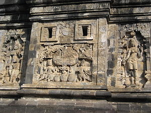 Pawon - Relief of Kalpataru tree on the outer wall.