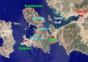 Karaburun Peninsula, Turkey - Map of Karaburun Peninsula at the western end of Turkey