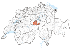 Cairt o Swisserland, location o Obwalden highlighted