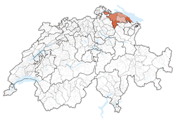 Map of Switzerland, location of Thurgau highlighted