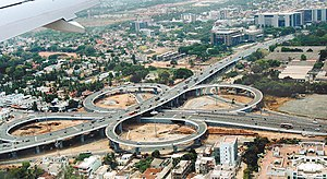 Cloverleaf interchange - The Kathipara cloverleaf interchange in Chennai, India.