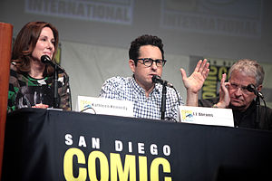 Star Wars: The Force Awakens - (L–R) Producer Kathleen Kennedy, writer and director J. J. Abrams and writer Lawrence Kasdan speaking at the 2015 San Diego Comic-Con International