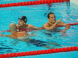 Nicholas Santos - Santos (centre) wins silver in Kazan 2015