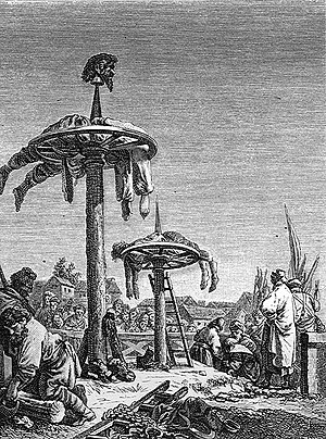 Executions of Cossacks in Lebedin - Execution by breaking on wheel. From early-18th-century engraving.