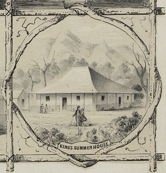 Kaniakapupu - King's Summer House (1853), lithograph by Paul Emmert