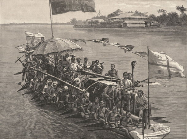 King Koko in His War Canoe, London Daily Graphic, 30 March 1895; depicting King Frederick William Koko--onetime antagonist to the Royal Niger Company King Koko in His War Canoe.png