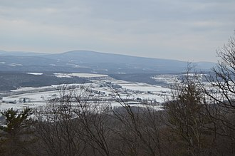 King Township, Bedford County, Pennsylvania - Snow-covered fields in late March, seen from Dunning Mountain