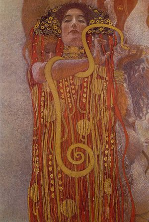 Klimt University of Vienna Ceiling Paintings - The bottom portion of the Medicine picture, showing Hygieia