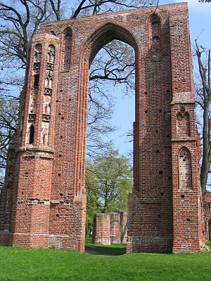 Christianization of Pomerania - Ruins of Hilda Abbey (Eldena, Greifswald, founded in 1199) by Danish Cistercian monks