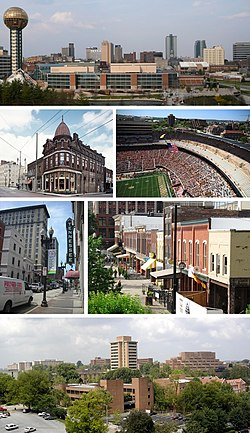 Clockwise from top: Skyline of Knoxville, Neyland Stadium, Market Square, University of Tennessee campus, Gay Street in Downtown, and Patrick Sullivan's Saloon in Old City