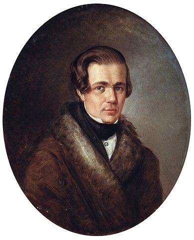 А.В.Кольцов в 1838 году. Портрет масляными красками работы А.К.Горбунова.