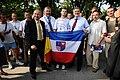 Komorowski with Swietokrzyskie Voivodeship flag 2010.jpg