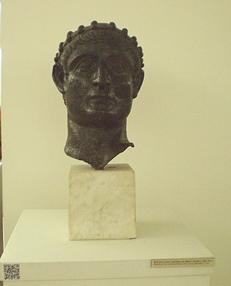 Celebration of 1700 years of Edict of Milan in Niš - Replica bronze head of Constantine the Great, which was discovered during the construction of an iron bridge on the banks of the River Nišava on 1900, Visitor Center of Mediana. The original is kept in the National Museum of Serbia.