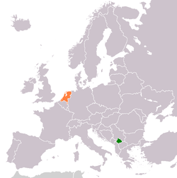 Map indicating locations of Kosovo and Netherlands