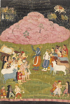 Krishna raising Mount Govardhan, an illustrati...