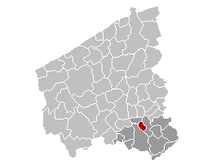 Location of Kuurne in West-Flanders