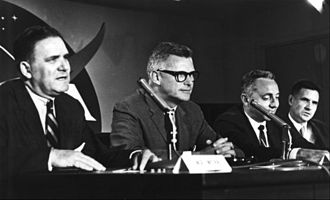 Joseph Francis Shea - The lunar orbit rendezvous decision is announced at a NASA press conference in July 1962. Joe Shea is at the far right.