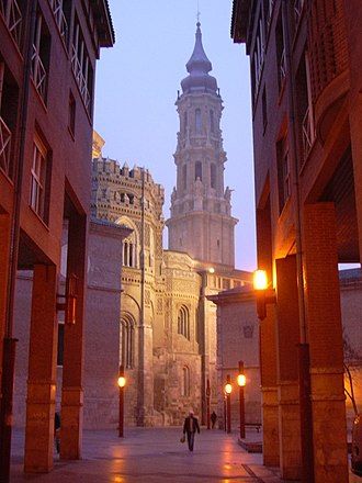 Cathedral of the Savior of Zaragoza - La Seo at night