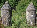 Laigh Borland 1916 walled garden gatepiers, Dunlop, Ayrshire.jpg