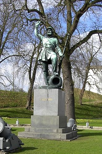 "Fredericia - The statue Landsoldaten (""The Foot Soldier"") in Fredericia, Denmark"